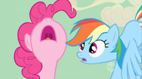 """Rainbow Dash """"what"""" face to Pinkie Pie S02E14"""