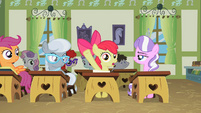Apple Bloom raising her hoof S02E12
