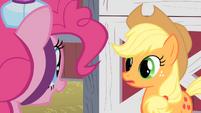 Applejack listening to Pinkie's invitation S1E25