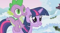 Twilight and Spike nearing animal team area S1E11