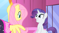 Rarity and Fluttershy smiling S1E20