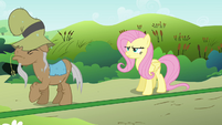 Mr. Greenhooves backing up to Fluttershy S2E19