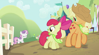 Applejack and Apple Bloom looking at Sweetie Belle 2 S2E05