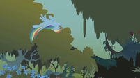 Rainbow flying upside-down through the forest S1E09
