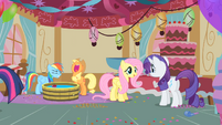 The ponies enjoying the party S1E25