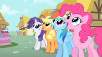 Rarity, Applejack, Rainbow, and Pinkie gasp at Philomena's renewal S01E22