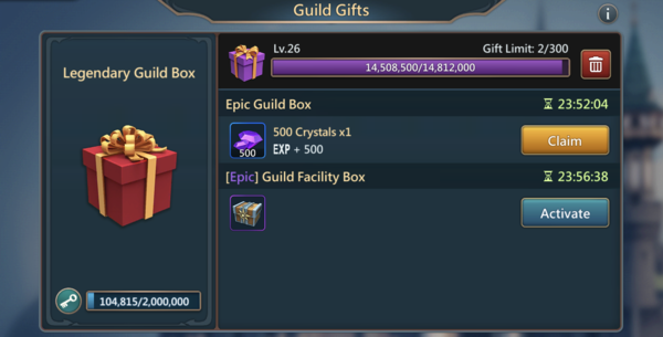 Guild gifts