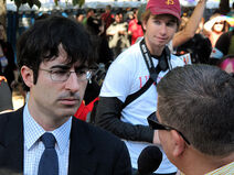 The Daily Show's John Oliver interviewing protesters