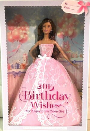 For A Very Special Birthday Party In 2015 Wishes BarbieC Doll Is Dressed Beautiful Pink Strapless Gown Featuring Dramatic Yet Delicate Lace