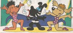 Mister B e suas assistentes em Cascão N9, da Panini, em 'O Mistério do Personagem que Lavou as Mãos'