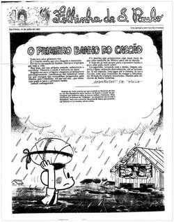 O Primeiro Banho do Cascão (capa da Folhinha) domingo de 31 de julho de 1983