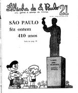 Capa da Folhinha na qual SP faz 410 anos