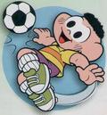 Cascão jogando futebol no álbum da Chicle de Bola Gang