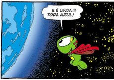 O Super Horácio observa a Terra