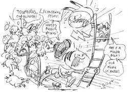 Cebolinha e Mônica correndo de toupeiras