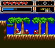 Mônica ataca os Caranguejos da praia no game