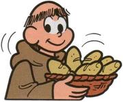 Padre Lino oferecendo pães