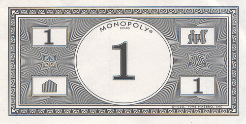 Image result for 1 dollar monopoly money
