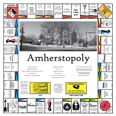 Amherstopoly board
