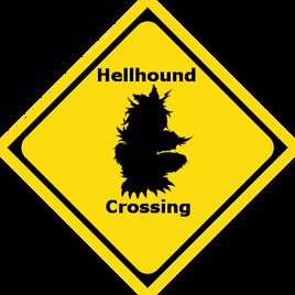 Hellhound Crossing Sign
