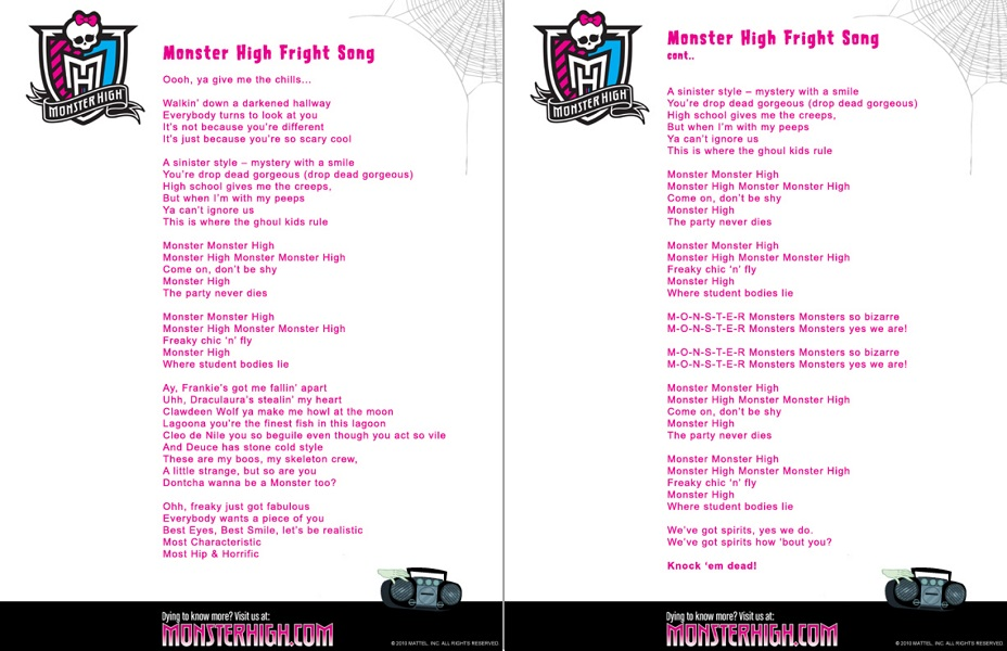 Lyric disney songs lyrics : Fright Song | Monster High Wiki | FANDOM powered by Wikia