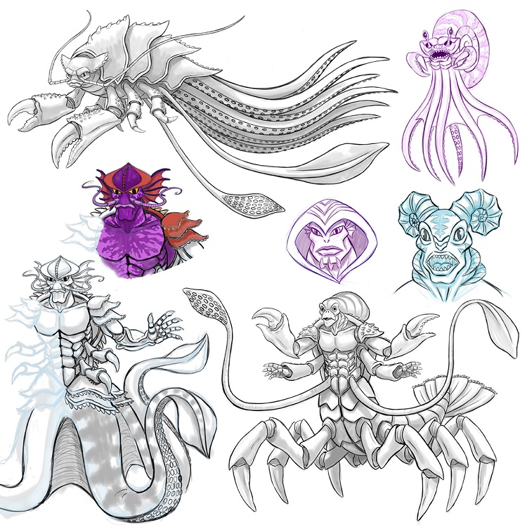 Concept Art Of The Kraken Was Uploaded By Casey Sanborn On May 29 2016 It Shows Various Designs For Character That Give Him A Look More Befitting