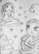 Chibi szkic - Sunita i Jamyang na chmurze