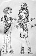 Justine i Akanksha szkic długopisem