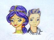 Kolorowy szkic Justine i Justina by Rochi