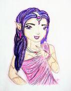 Portret Justine do rysunku z wachlarzem
