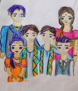 Justine i Justin z rodzicami i rodzeństwem by Roch