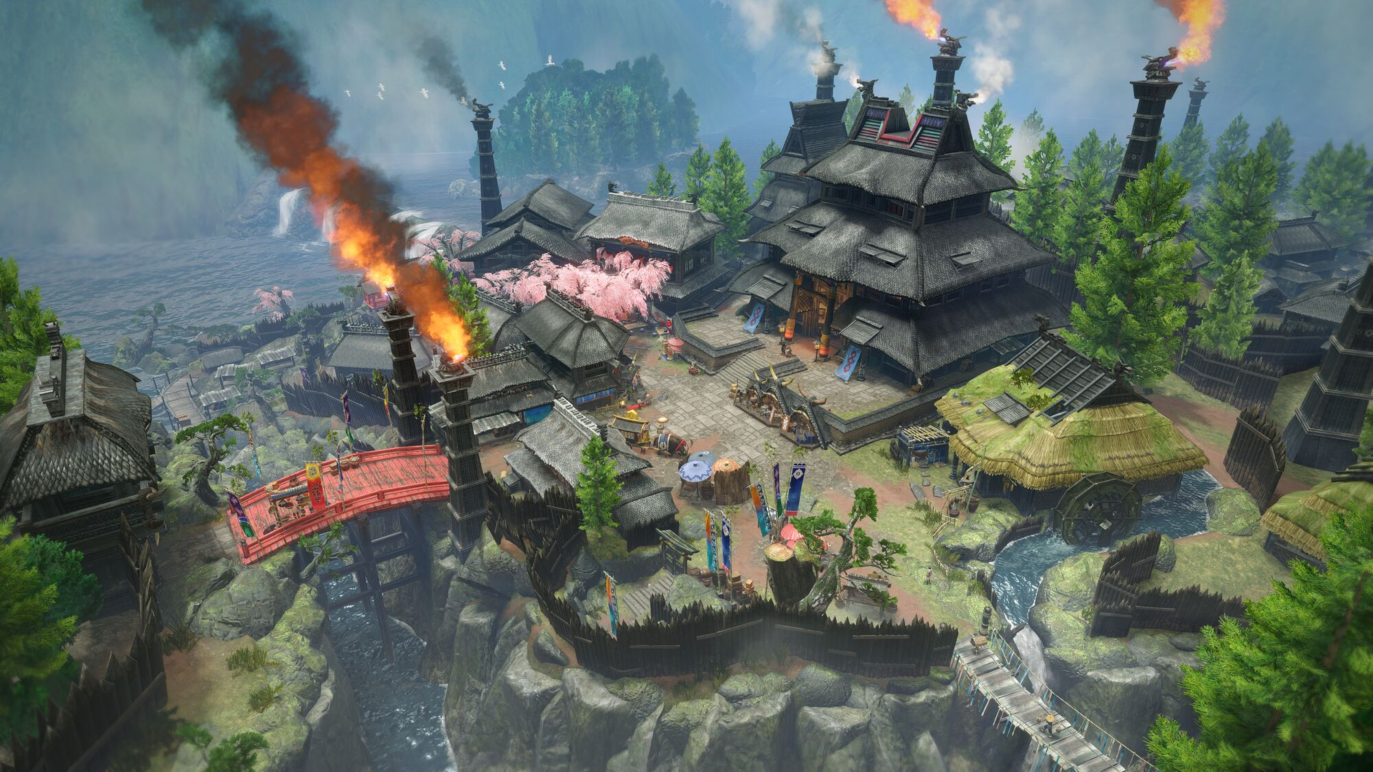 Monster Hunter, the image shows a view of the village that you are based in.