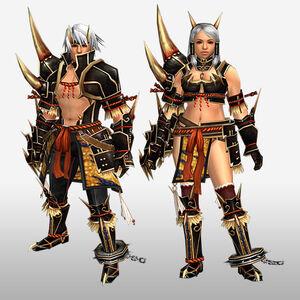 FrontierGen-Kishin Armor (Blademaster) and Doji Armor (Gunner) (Front) Render