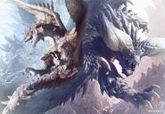 MHW-Rathalos and Nergigante Artwork 001