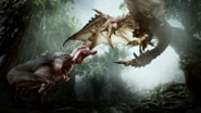 MHW-Artwork Anjanath vs Rathalos