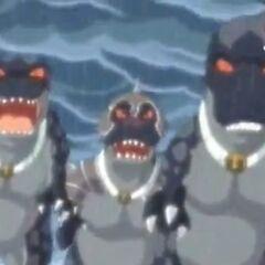 Die Raub-Dinos verfolgen Genki und Mocchi