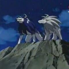 Tiger und Wolfszahn schauen sich den Mond an