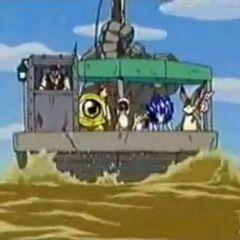 Jim und Lauscher bringen Genki und seine Freunde über den Gelben Fluss.