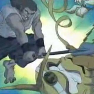 Rocko kämpft gegen Zwiebelmonster.