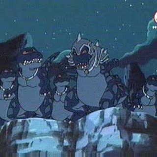 Genki und seine Freunde entwischen den Raub-Dinos