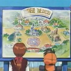 Genki und Holly schauen sich die Karte des Erholungspark an.