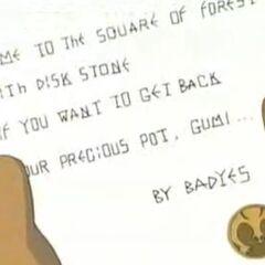 Der Brief von Nya: <i>Wenn ihr euren wertvollen Topf wiederhaben wollt, kommt zu der Lichtung im Wald und bringt den Geheimnisstein mit!</i>