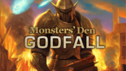 Monsters Den Godfall logo