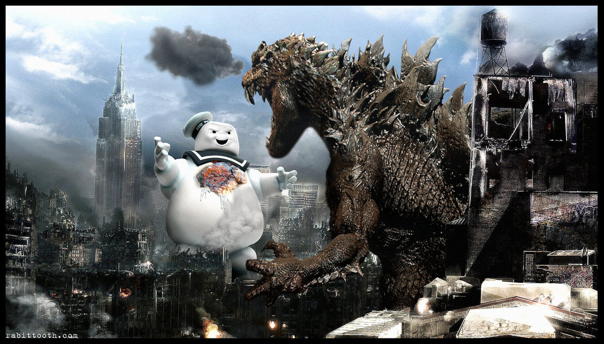 Godzilla vs the stay puft marshmallow man by rabittooth-d4pxpro
