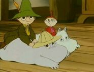 Snufkin, Moominpappa, Little My and Moomintroll