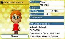 Ninni Moomin QR Code Contents