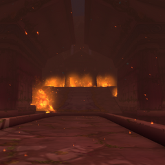 The Temple of the Moon collapses in the blazing inferno.