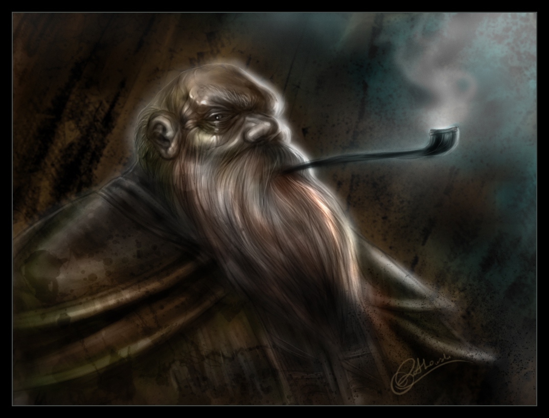Image result for old dwarf smoking