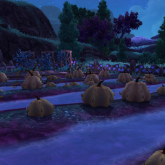 Bakuzan attempts to grow Mogu Pumpkins on Outpost land with mixed results. Still edible!