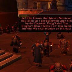 Recieving Draig'kalar from Thane Grungnir Orcbane.